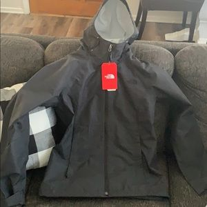 Women's North Face rain black coat w tags size S